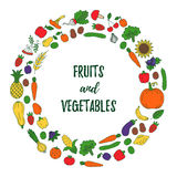 Fruits and vegetables doodles round vector frame Stock Photo