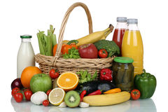 Fruits, vegetables and drinks in a shopping basket Stock Photography
