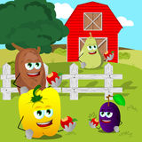 Fruits and vegetables eating apple on the farm Royalty Free Stock Photo