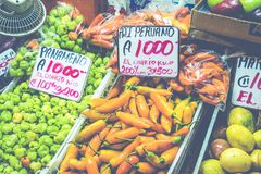 Fruits and vegetables.Farmer`s Market. San Jose, Costa Rica, tro Stock Photos