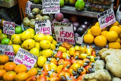 Fruits and vegetables.Farmer`s Market. San Jose, Costa Rica, tro Royalty Free Stock Photos