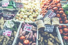 Fruits and vegetables.Farmer`s Market. San Jose, Costa Rica, tro Royalty Free Stock Images