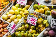 Fruits and vegetables.Farmer`s Market. San Jose, Costa Rica, tro Royalty Free Stock Photography