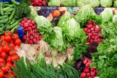 Fruits and vegetables at a farmers market Stock Photo