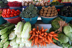 Fruits and vegetables. At a farmers market stock images