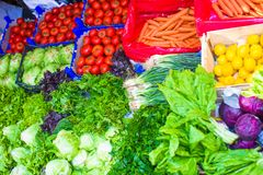Fruits and vegetables at a farmers market Royalty Free Stock Image