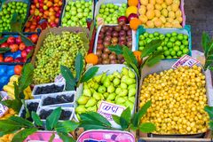 Fruits and vegetables at a farmers market Royalty Free Stock Photo