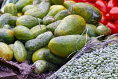 Fruits and vegetables at a farmers market Royalty Free Stock Images