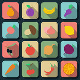 Fruits and vegetables flat vector icons Stock Photography