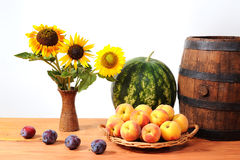 Fruits, vegetables and flowers Royalty Free Stock Photography