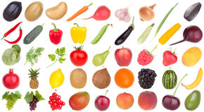 Fruits and vegetables food. Isolated, up to 1,5Mpx any fruit and vegetable Stock Photo