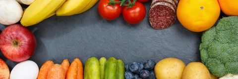 Fruits and vegetables food collection banner frame slate copyspa Stock Photos