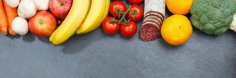 Fruits and vegetables food collection banner slate copyspace fro Royalty Free Stock Photography