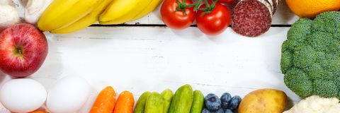 Fruits and vegetables food collection cooking banner frame copyspace top view stock photography