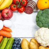 Fruits and vegetables food collection cooking frame square copys. Pace top view from above Royalty Free Stock Images