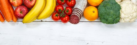 Fruits and vegetables food collection cooking ingredients banner Royalty Free Stock Photos
