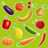 Fruits and vegetables in the form of stickers. Vector image Stock Photos