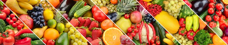 Fruits and vegetables in frame oblique strips. Stock Photo