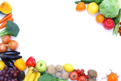 Fruits and vegetables frame. Studio shot of fresh fruits and vegetables Royalty Free Stock Photography