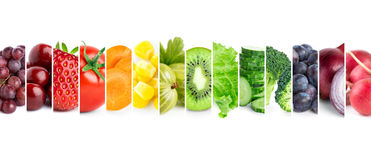 Fruits and vegetables. Fresh color fruits and vegetables. Healthy food concept Royalty Free Stock Photo