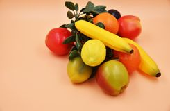 Faux Fruits and vegetables. Fruits and vegetables, fresh food Stock Photos