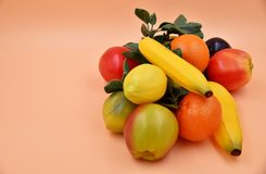 Faux Fruits and vegetables. Fruits and vegetables, fresh food Royalty Free Stock Photo