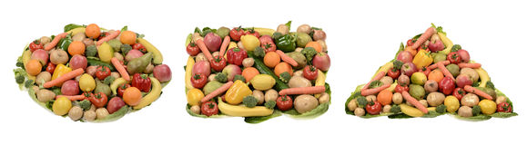 Fruits and vegetables. Fruit and vegetable circle square and triangle Royalty Free Stock Photo