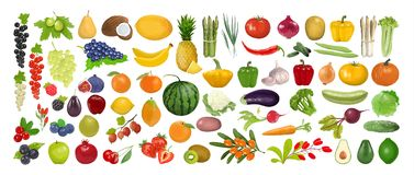 Fruits and vegetables. Fruits and vegetables set on the white background stock illustration