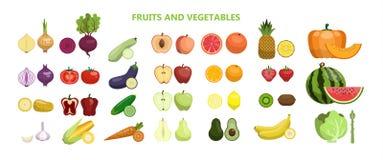 Fruits and vegetables. Fruits and vegetables set on white background royalty free illustration