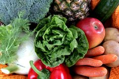 Fruits and Vegetables full frame Royalty Free Stock Photography