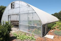 Greenhouse, vegetable garden. Fruits and vegetables get a start in a greenhouse stock photos