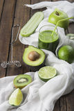 Fruits and vegetables with a glass of green smoothie Royalty Free Stock Photo