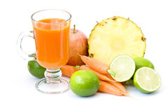 fruits, vegetables and glass of juice Stock Image