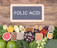 Folic acid food sources, top view stock photography