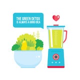 Fruits Vegetables Greens bowl and Blender Organic fresh food Royalty Free Stock Photography