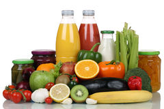 Fruits, vegetables, groceries and orange juice drink Stock Image