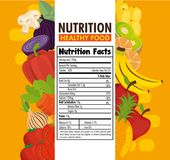Fruits and vegetables group with nutrition facts. Vector illustration design Royalty Free Stock Images