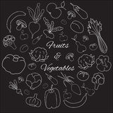 Fruits and vegetables hand drawn round vector set. Set of flat fruits and vegetables icons drawing with white lines on black background in round Royalty Free Illustration