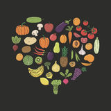 Fruits and Vegetables hand-sketched herbal vector frame (templat Stock Image
