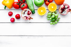Fruits and vegetables for healthy dinner on white background top view mock up Royalty Free Stock Image