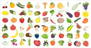 Fruits and vegetables. Healthy food likes. Fruits and vegetables on white vector illustration