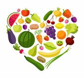 Fruits, vegetables, heart, coloured illustrations. Fruits and vegetables in the shape of a heart. Vegetarianism and raw food diet. Colored, flat, vector picture Stock Image