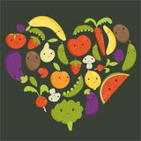 Fruits and vegetables heart shape Stock Photos
