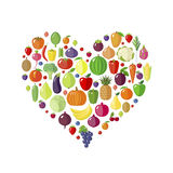 Fruits and vegetables in heart shape. Stock Images