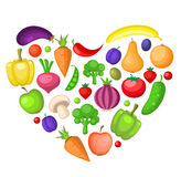 Fruits and vegetables heart Royalty Free Stock Image