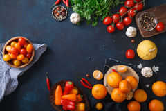 Fruits, vegetables and herbs on blue background. Rustic concept Royalty Free Stock Photo
