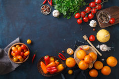 Fruits, vegetables and herbs on blue background. Rustic concept Stock Photo