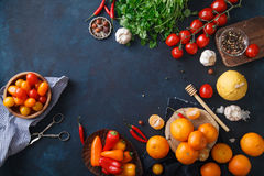 Fruits, vegetables and herbs on blue background. Rustic concept Royalty Free Stock Images