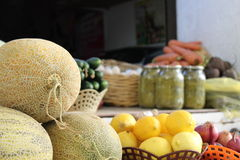 Honeydew melons and other fruits and vegetables Royalty Free Stock Photo