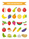 Fruits and vegetables icon set, flat style. Fruits, berries and vegetables set set isolated on a white background. Fruits and vege Stock Image